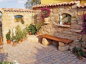 garten terrasse mediterran kunstrasen garten With garten planen mit balkon gestalten mediterran
