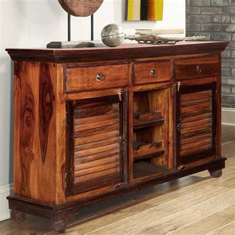 Wine Sideboard by Shaker Rustic Solid Wood 3 Drawer Wine Bar Sideboard Cabinet
