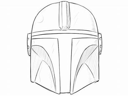Mandalorian Helmet Draw Drawing Easy Step Wars