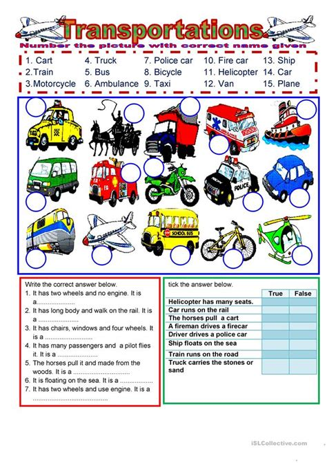 transportation worksheet  esl printable worksheets