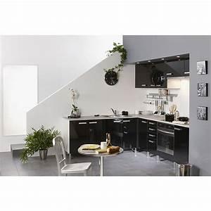 Meuble D Angle Haut Cuisine : meuble haut d 39 angle 1 porte 60cm glossy noir ~ Teatrodelosmanantiales.com Idées de Décoration