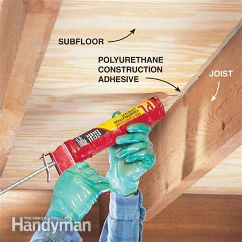 how to fix gap between how to repair a squeaky floor the family handyman