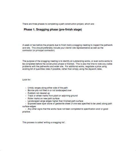 snag list template   sample  format