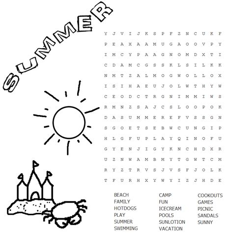 lesson plan with summer word search at pre schools