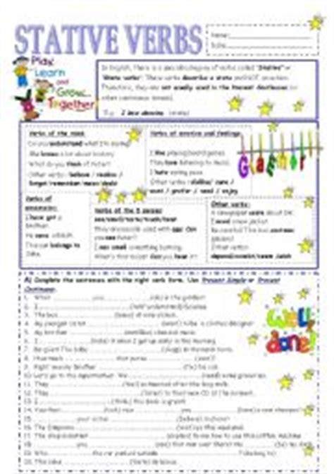 english worksheets stative verbs