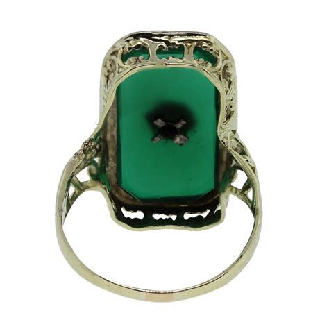 14kt Yellow Gold Green Onyx & Old European Cut Diamond Ring. Rhodium Engagement Rings. Uncut Diamond Engagement Rings. Matte Finish Engagement Rings. Seahorse Rings. Luxury Wedding Rings. Meaning Engagement Rings. Gunmetal Rings. Rectangle Shaped Rings