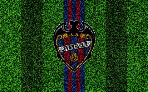 Download wallpapers Levante UD, 4k, logo, football lawn ...