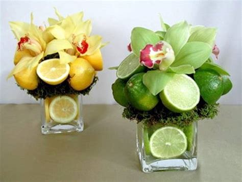 15 colorful floral arrangements with lemons creating unique table centerpieces