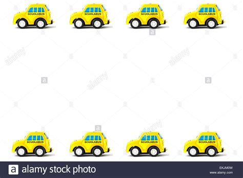 Frame Of Schoolbus Toy Car, White Background Stock Photo