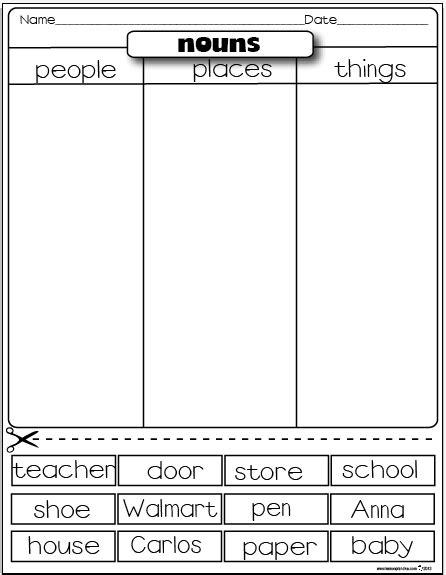 lesson plan diva freebies types  nouns sorting