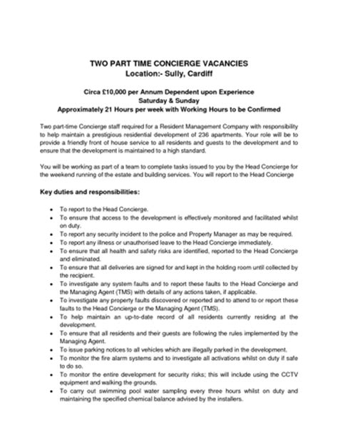 Hotel Security Description Resume by Concierge Duties Security Guards Companies