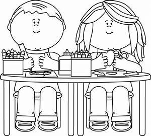 Black and White Kids in Art Class Clip Art - Black and ...