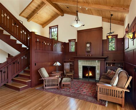 craftsman style home interior vintage house interior design with fireplace and wall