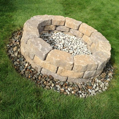 rock pit ideas diy fire pit 65 for surrounding blocks and 5 for river rocks can t wait to try it out
