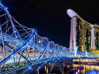 Singapore Night Marina Sands Lamp Bay Landscape