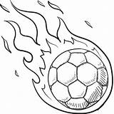 Soccer Ball Coloring Sports Drawing Flaming Draw Easy Fire Drawings Steps Sheets sketch template