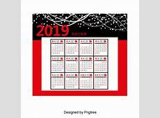 2019 Calendar, Calendar 2019, Year Of Pig, Lunar Calendar