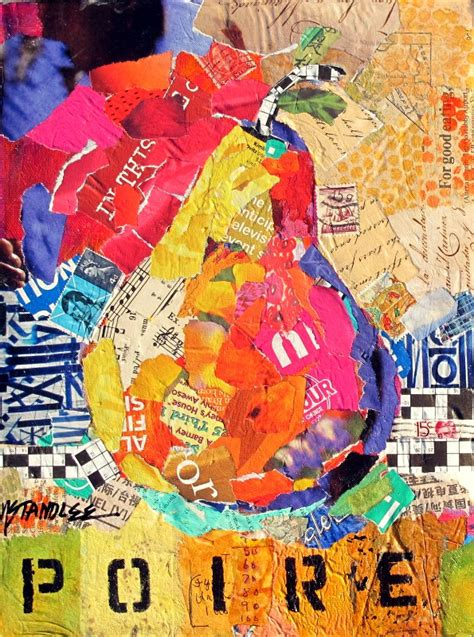 mixed media artists international pear torn paper collage