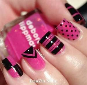 Bright pink and black | Nail Designs | Pinterest