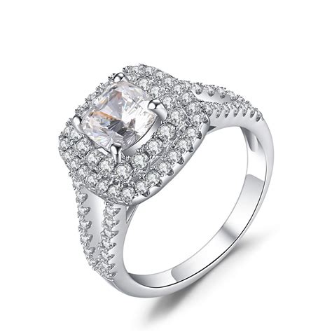 white silver wedding rings round cut white sapphire 925 sterling silver engagement