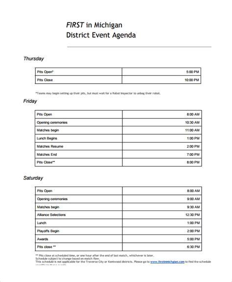 sample event agenda templates   ms word