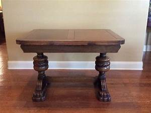 Antique, English, Oak, Pull, Out, Leaf, Dining, Table, With, Glasstop