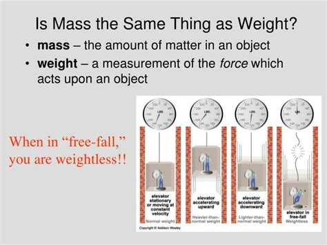 mass weight same thing ppt presentation powerpoint skip force