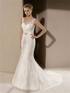 Fitted Mermaid V Neck Low Back Ivory Lace Wedding Dress ...