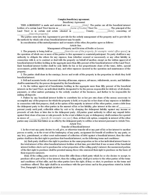 sample printable complex beneficiary agreement form real