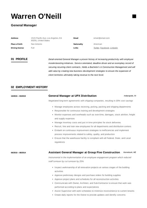 General Manager Resume Template in 2020 | Manager resume, Resume examples, Job resume examples
