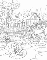 Cottage Pond Coloring Detailed sketch template
