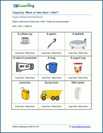 grade 2 capacity worksheets more or less than 1 liter k5 learning