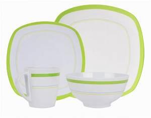 Home Creation Geschirr : melamin geschirr design curl green weiss gr n eckig ~ Buech-reservation.com Haus und Dekorationen