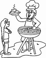 Barbecue Bbq Clipart Clip Coloring Dad Library sketch template