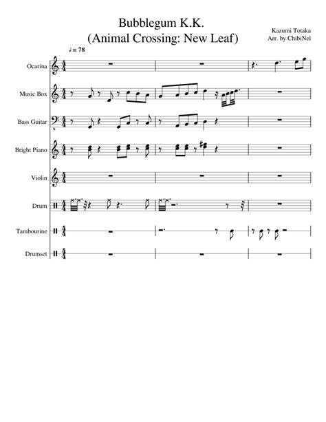animal crossing guitar theme sheet bubblegum leaf piano tab tabs ukulele chords