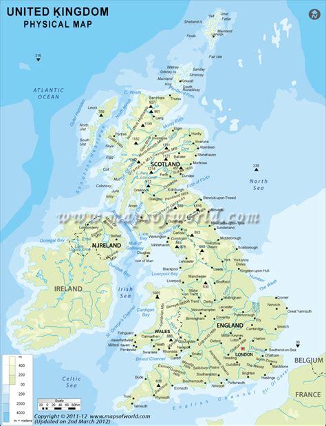 uk physical map physical map  united kingdom