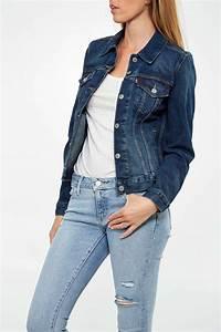 Jean Bleu Troué Femme : levi 39 s blouson en jean levi 39 s original trucker bleu stone femme veste et manteau livraison et ~ Melissatoandfro.com Idées de Décoration