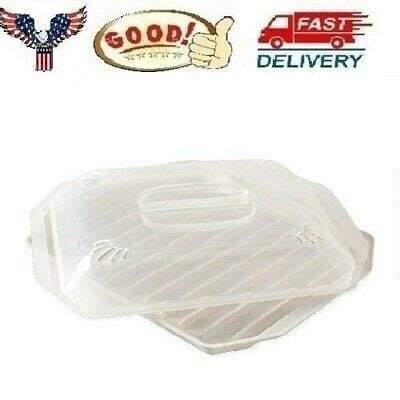 microwave bacon grill cooker cookware tray rack pan  cover kitchen white  ebay