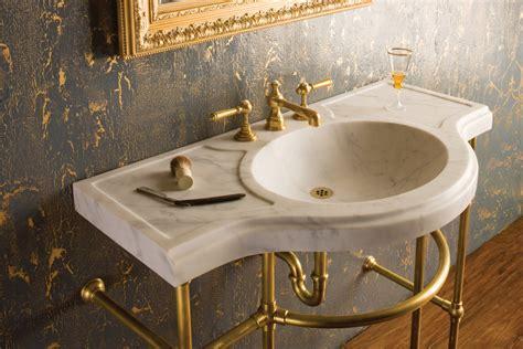 Interesting Bath Sink With Golden Polished Pedestal