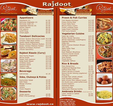 indian cuisine menu a look on indian restaurant rajdoot menu indian