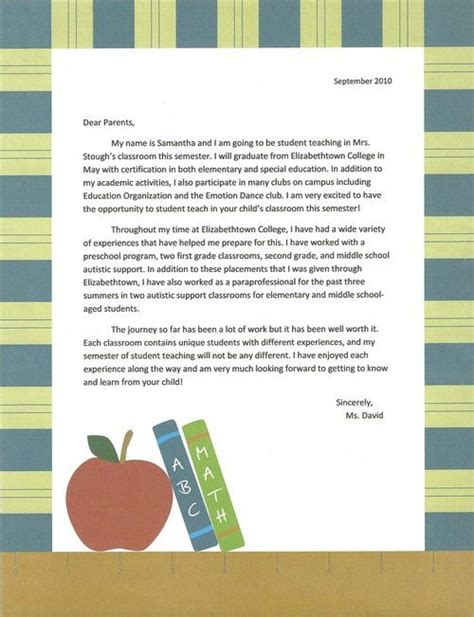 sample intro letter  parents student teaching