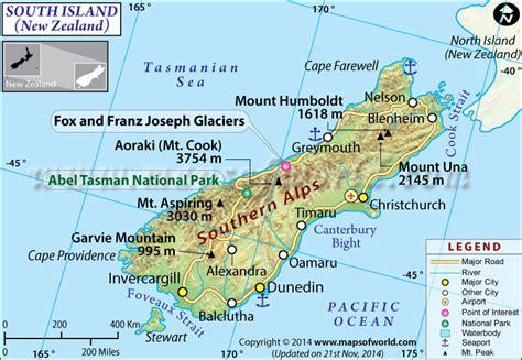 south island map  zealand