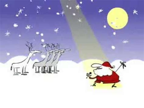 santa and reindeer sing white christmas animation song