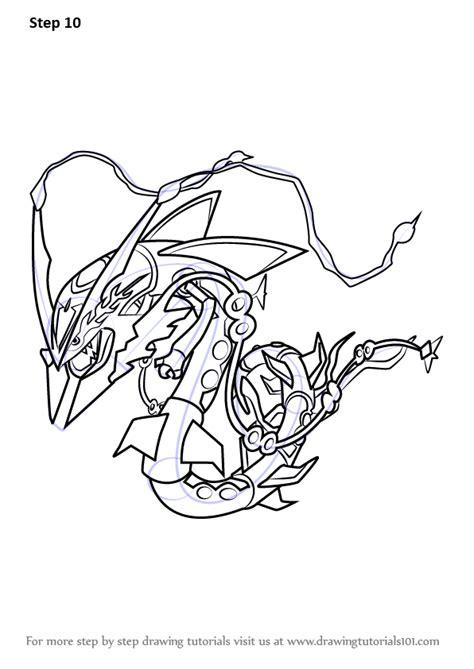 step  step   draw mega rayquaza  pokemon drawingtutorialscom