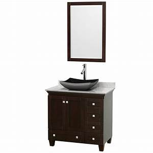 Wyndham collection wcv800036sescmgs1m24 acclaim 36 inch for White bathroom vanity with black countertop