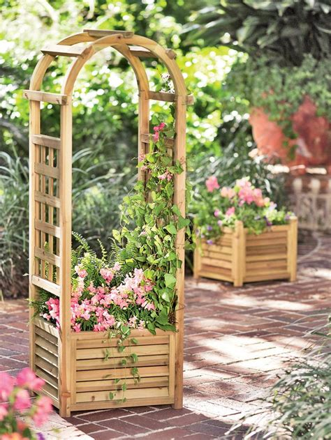 Buy Trellis by Louvered Wooden Planter With Trellis Gardener S Supply