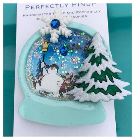 Frosty The Snowman Snowglobe Pinup Brooch Rockabilly Pin