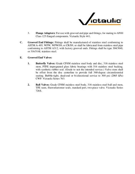 victaulic stainless steel grooved piping system specifications