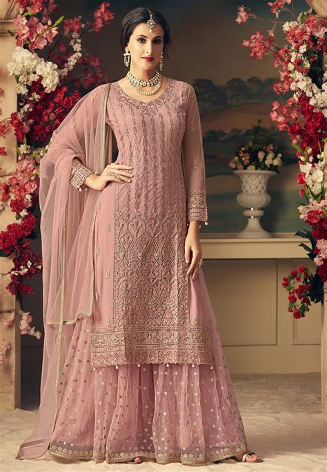 embroidered net pakistani suit  dusty pink kch