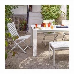 Table De Jardin Blanche. table de jardin aluminium verre 150x90x72 ...